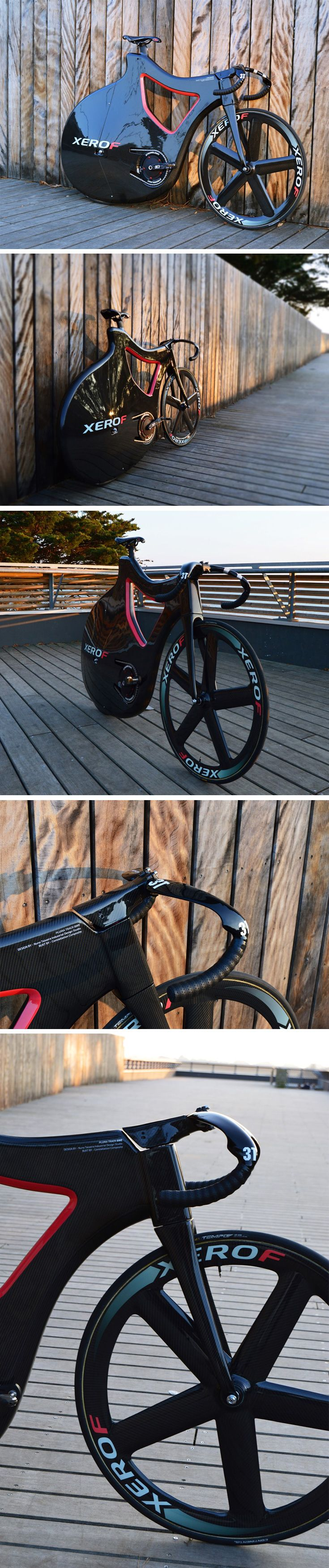 The Pluma is a Track Bike, focusing on being immensely resistant to stress, force, and pressure while minimizing drag. Pluma's bike frame is crafted entirely out of carbon fiber, with a PVC Foam core. The rear end of the bike is entirely clad by the frame, allowing air to be guided in a manner that gives Pluma its aerodynamics.