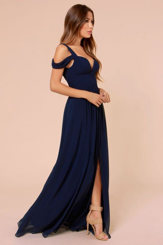 Bariano ocean of elegance navy blue maxi dress for Navy blue maxi dress for wedding