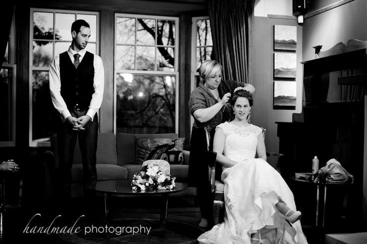 Bride with hairdresser in Grange Room