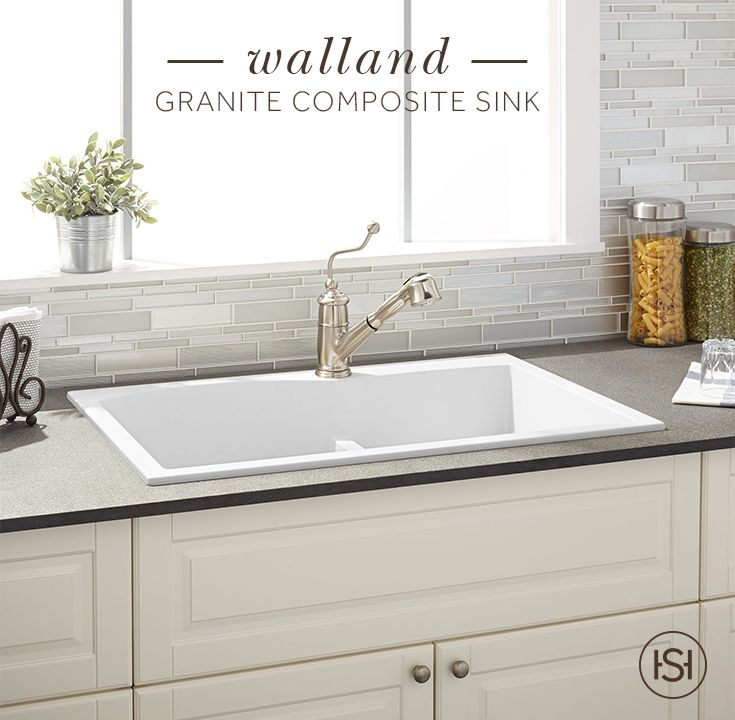 Granite composite is a high-quality material with a matte look. Incorporate it into your kitchen with the Walland Granite Composite Sinks available in drop in and undermount and a variety of colors, including beige, white, and black.