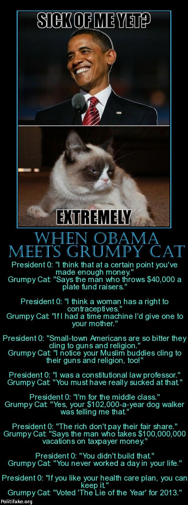 politics When Obama meets Grumpy Cat