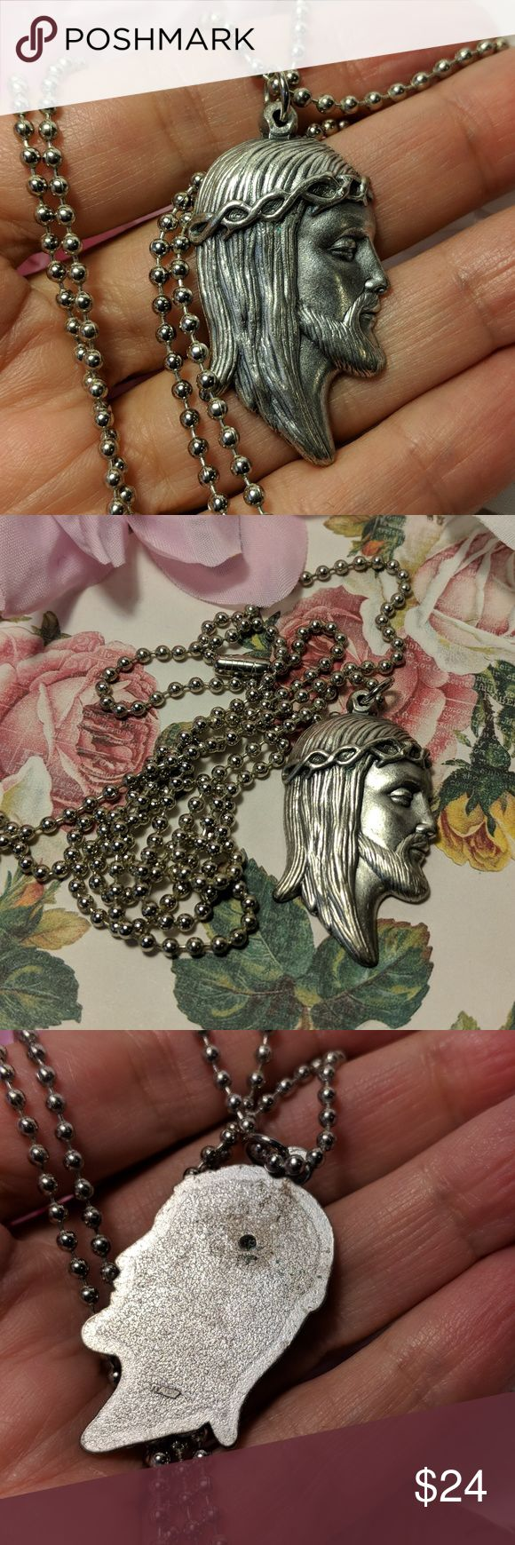 Jesus Crown of Thorns Pendant Long Silver Necklace Jesus Crown of Thorns Pendant Long Silver Necklace  Large pendant is marked ITALY. Silver tone. Heavier weight and fine detail. On a 30 inch USA made all steel chain with closure. Pendant is approx. 1.5 inchs long. Jewelry Necklaces