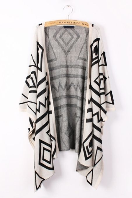 Geometry Graphic Batwing Cardigan by Oasap