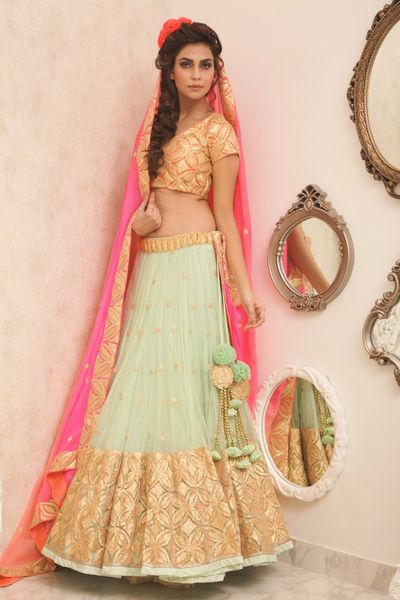 Mint lehenga with gota work