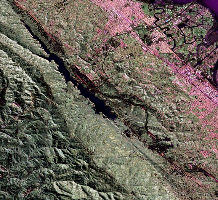 UAVSAR image of the San Andreas fault in the San Francisco Bay area just west of San Mateo and Foster City. The fault runs diagonally from upper left to lower right. The body of water along the fault line is Crystal Springs Reservoir.