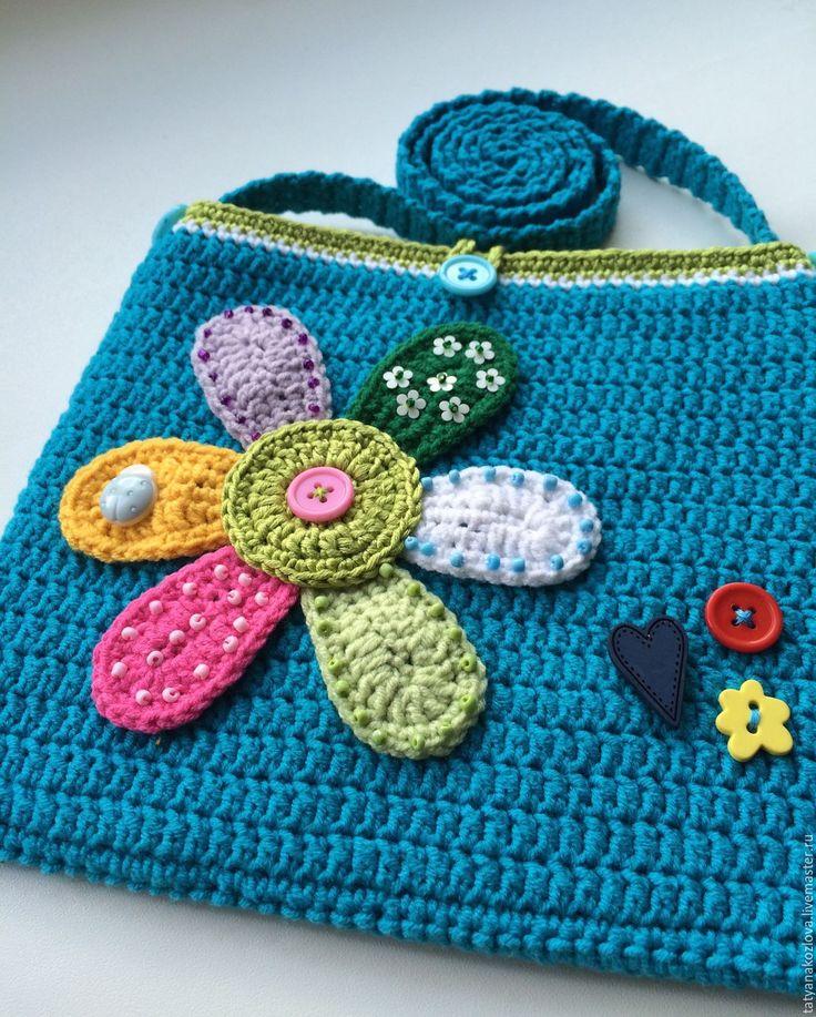 Купить Сумочка для девочки Семицветик - бирюзовый, абстрактный, сумочка ручной работы, сумочка крючком