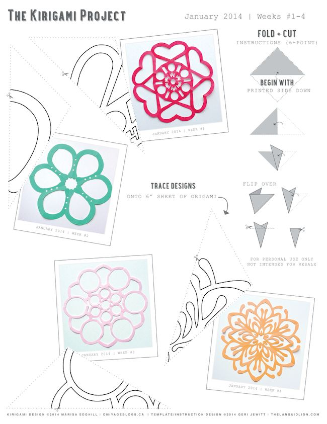 Kirigami Projects with printables (Jan 2014) -- Omiyage Blogs
