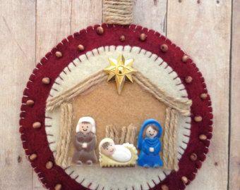 Natividad sentía ornamento / navidad fieltro por CraftsbyBeba