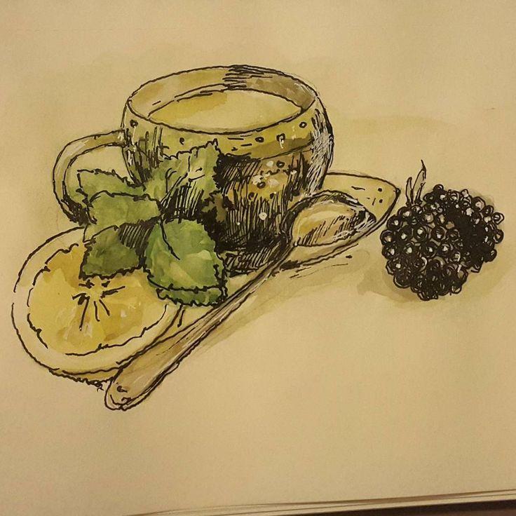 Зелёный чай с мятой и лимоном. Ну и ежевика рядом.  #drawing #illustration #watercolor #portrait #sketch #pencil #sketchbook #art #artwork #painting #eskiz #портрет #рисунок #карандаш #набросок #эскиз #акварель #зеленыйчай #лимон #ежевика #мята