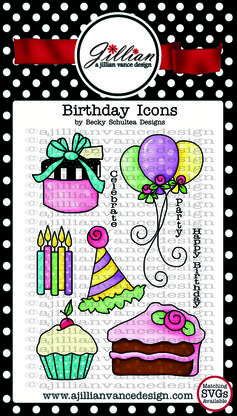 Birthday Icons clear stamps by Becky Schultea Designs (at A Jillian Vance Designs)