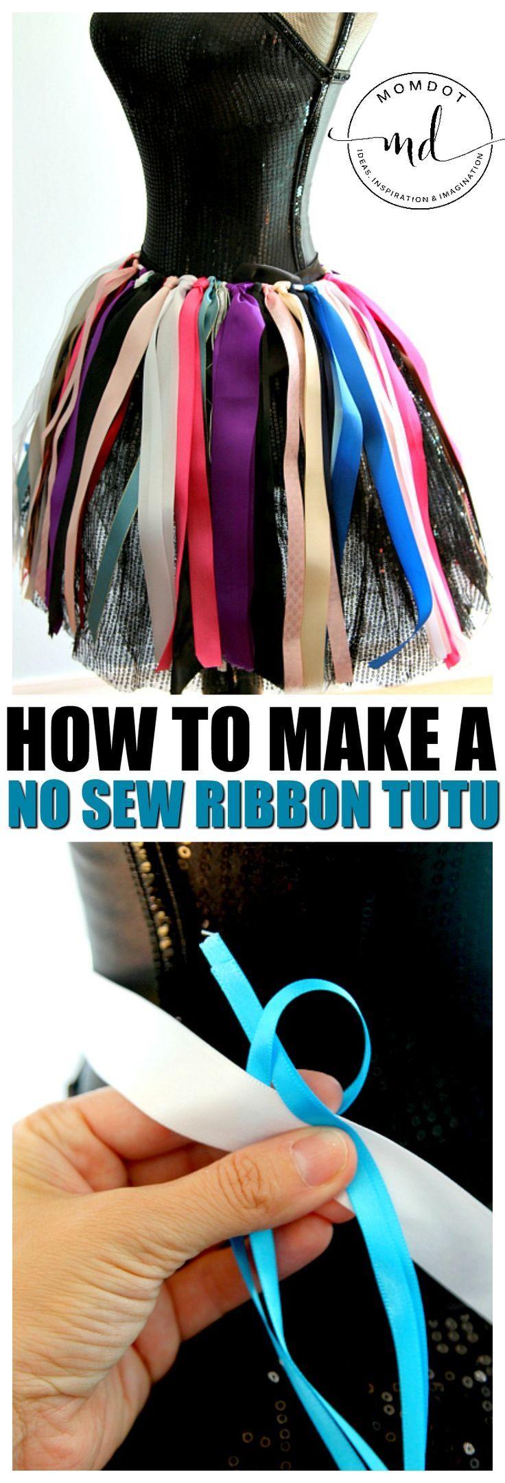 How to make a ribbon tutu tutorial | Halloween costuming crafts | no sew ribbon tutu DIY