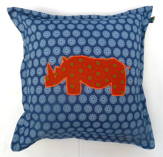 Rhino Cushion Cover  100 cotton Shweshwe  by MathildeAndCo on Etsy