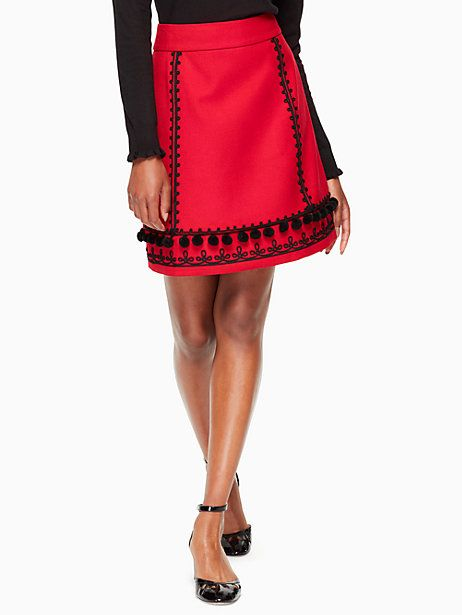 Kate Spade Pom Embroidered Skirt, Charm Red - Size 12