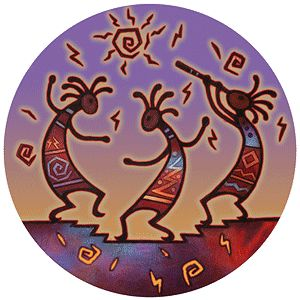 """Southwest Spirit Coasters - """"Kokopelli Dance"""". Desert Canyon Gifts presents a variety of Southwestern Themed Beverage Coasters. Everything from cactus images to kokopelli, geckos, pottery, etc. These sandstone coasters are great accents to your Southwest Decor or simply purchase for a gift for any occasion. Made from natural sandstone - cork backing. 4"""" diameter. Set of 4 - $19.99"""