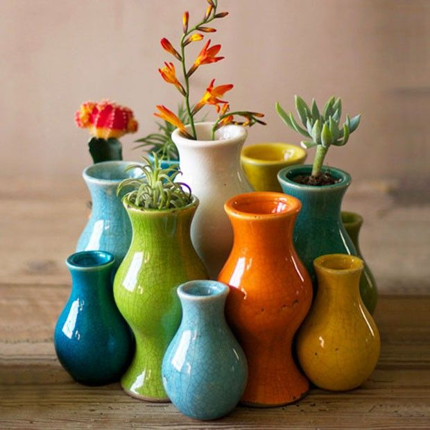 eclectic assortment of bud vases