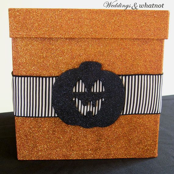 Orange Sparkle Halloween Card Box 9 W X H By WeddingsAndWhatnot 5000