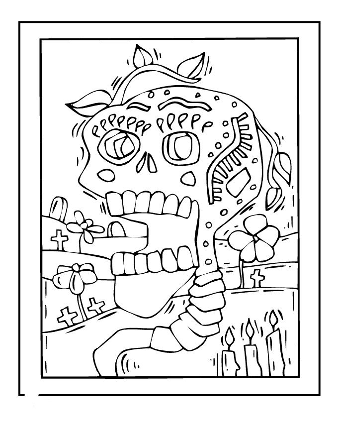 Day Of The Dead Coloring Pages Skulls