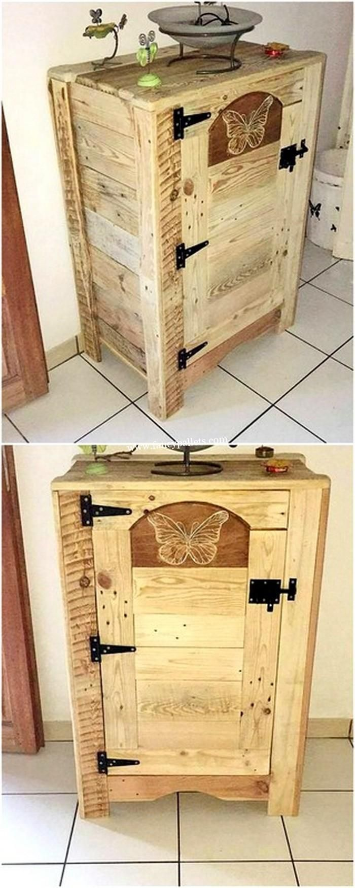 Homemade Pallet Cabinet Wood Pallets Old Pallets Wooden Projects [ 1750 x 700 Pixel ]