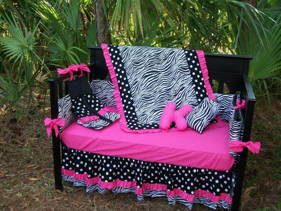 New Black White Polka Dot Zebra And Hot Pink Fabrics Crib Bedding Set 325 00 Via Etsy When I Have A Kid Way In The Future Pinterest