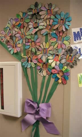A cute display in the spring outside the classroom door. you could use this for adjectives and have the students write adjectives that describe them self on the petals or do an addition problem with the petals....