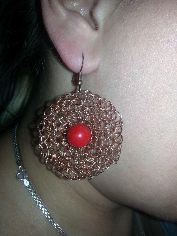copper earrings  Серьги вязаные (медь)