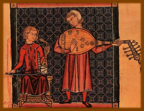 Cantigas de Santa Maria, mid-13th century, Spain. Средневековые музыканты  teatr-muzykr.jpg:500x387, 115k