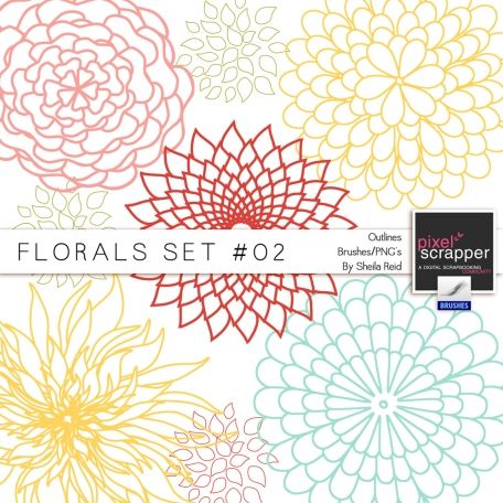 Florals Set #02 Outlines Brushes/PNG's Kit by Sheila Reid:)