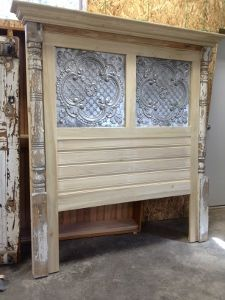 See What Is New At Green Oak Antiques. Headboard with porch posts and tin.
