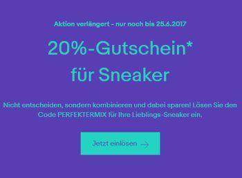 Ebay: 20 Prozent Rabatt auf Sneaker bis kommenden Sonntag https://www.discountfan.de/artikel/klamotten_&_schuhe/ebay-20-prozent-rabatt-auf-sneaker-bis-kommenden-sonntag.php Bei Ebay sind noch eine Woche lang Sneaker mit einem Pauschalrabatt von 20 Prozent zu haben. Pro Paypal-Konto kann der Gutschein zweimal eingelöst werden. Ebay: 20 Prozent Rabatt auf Sneaker bis kommenden Sonntag (Bild: Ebay.de) Um an den Ebay-Rabatt von 20 Prozent auf Sneaker zu kommen, muss... #Schuh