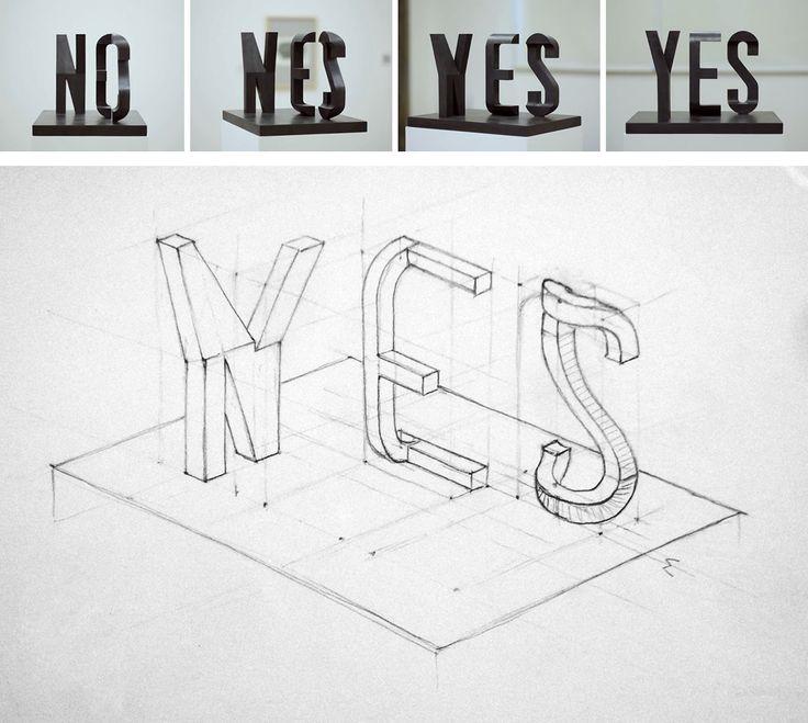 »yes/no« by markus raetz[via]
