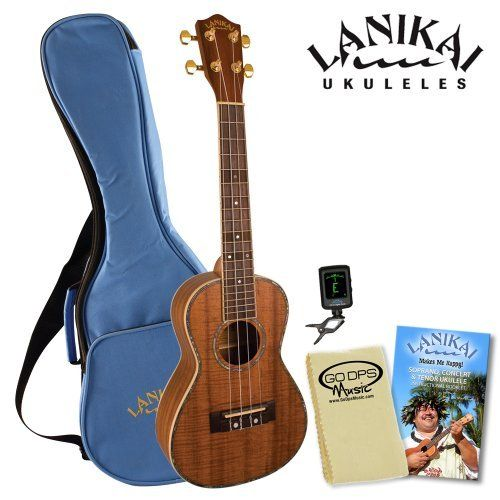 Lanikai LKP-CPACK Koa Concert Ukulele Pack - Includes: Lanikai Gig Bag, Instructional Booklet, Lanikai CO-UT Uke Tuner & GoDpsMusic Cleaning Cloth by Lanikai. $189.00. Lanikai Koa Packs are all about giving players what they asked for, a well appointed Koa uke with a rosewood fingerboard and bridge, gold plated die cast tuning machines, abalone rosette, body binding and fingerboard board inlays, a gig bag, and a clip-on tuner at a killer price. A custom wide bone nut was used to ...