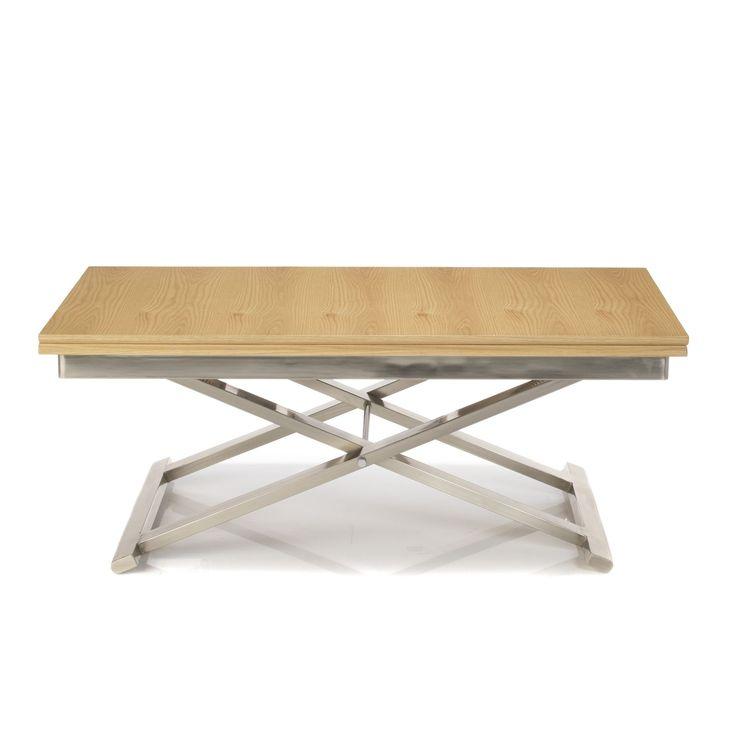€399 Table réglable multi-positions Imitation chêne et gris - Get up - Les tables basses - Tables basses et bouts de canapé - Salon et salle à manger - Décoration d'intérieur - Alinéa