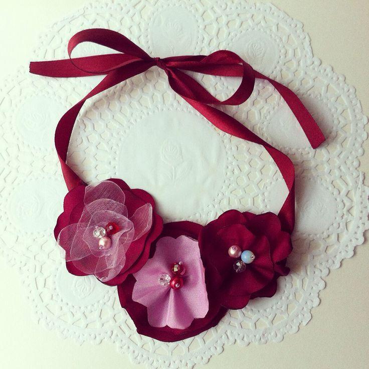 Handmade burgundy fabric flower necklace