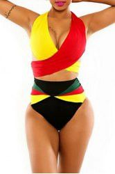 Stunning African Global Halter Top Swimsuit