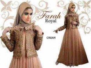Gaun pesta muslim terbaru Farah royal cream