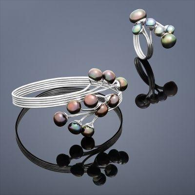 Set Peacock (perlový náramek a prsten s perlami) – mix