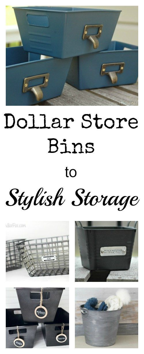 Brightly colored Dollar Store Bins become Stylish Storage with just a bit of paint
