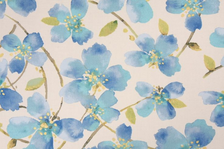 Richloom Tia Printed Cotton Drapery Fabric in Cornflower. This printed fabric is perfect for window treatments, decorative pillows, handbags, light duty upholstery applications and almost any craft project...