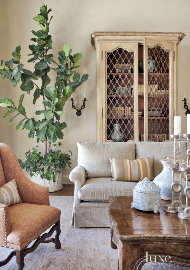 Mediterranean Cream Living Room Detail with Antique Shelving - Dessin Fournir sofa