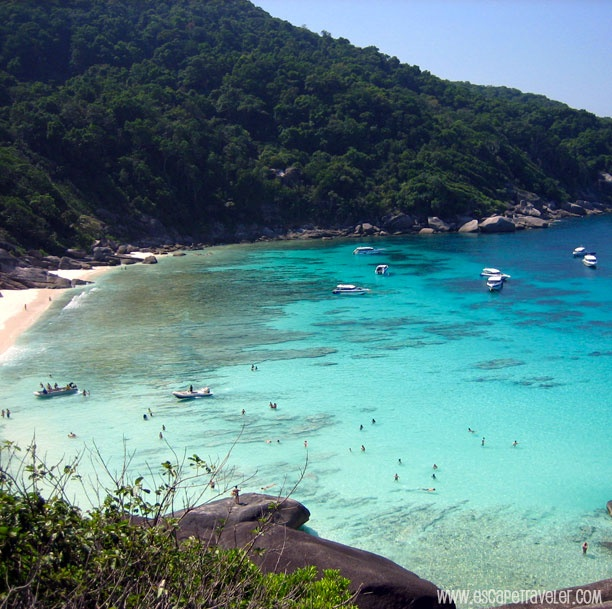 The national park of the Similan Islands is in southern Thailand, 50 kilometres west of Khao Lak. It is considered the best place in Thailand for divers.
