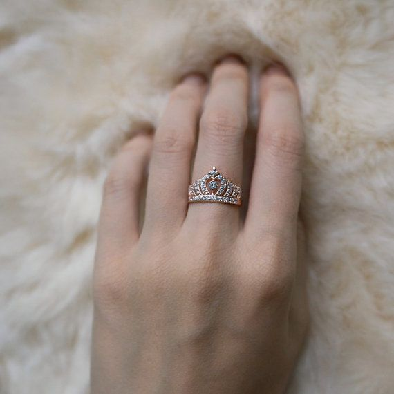 Rose Gold Crown Ring Princess Crown Ring Ready to ship by ZAKVI