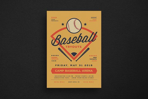 baseball tryouts flyer by guuver on creativemarket creative flyer