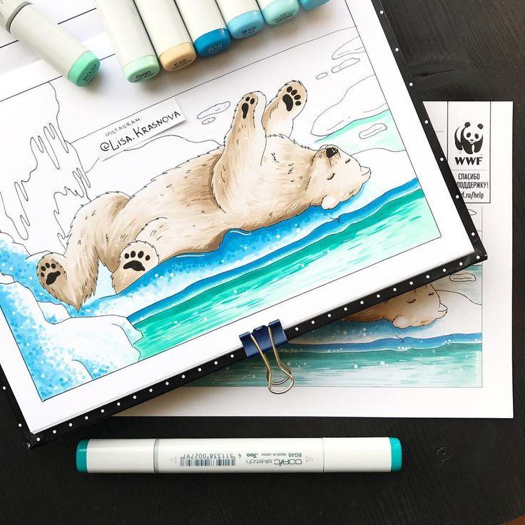 Last Christmas card for #wwf - polar bear. Последняя четвёртая открытка-раскраска для @wwfrussia - белый мишка. Сегодня, кстати, официальный день рождения белых медведей. Поздравим пушистых полярников ;) #wwfrussia