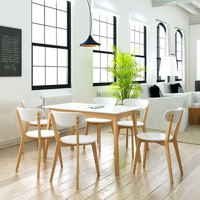 White Wooden Dining Set MDF Brich Wood Table 6 Chairs Seat Rectangular Kitchen