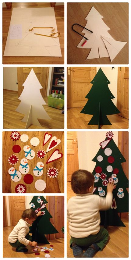 Alberello di compensato con vernice magnetica e vernice lavagna e decorazioni magnetiche di feltro.  Wooden christmas tree (with magnetic and board paint) and felt magnetic ornaments.