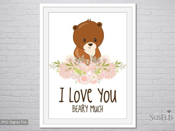 Woodland printable Watercolor Flower wall art I love by Suselis