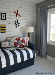 LOVE this full wall of planks! Nautical Big Boy Room Reveal @Kelly Rinzema (thelilypadcottage) www.lilypadcottage.com