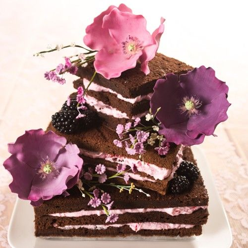 Recept: Brownie stapel taart met bloemen - Zomer - Recepten   Deleukstetaartenshop.nl