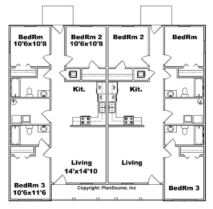 25 best ideas about duplex plans on pinterest duplex for Side by side duplex plans