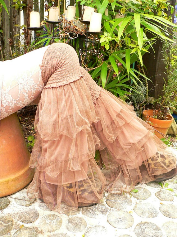 tutu brown elastic legwarmers overknee layered for pants leggings skirt fantasy fairy hippie